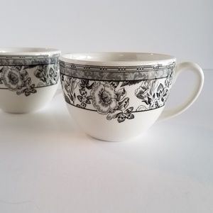 Lot of Two Wedgwood FLEUR DAMASK Cups  Hibiscus